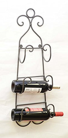 Wrought Iron Wall Towel/Wine Bottle Holder-28 Inches Tall x 8.5 Inches Wide.