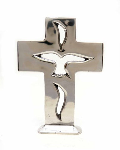 "Polished Aluminum Holy Spirit Cross with Base-9.75""H."
