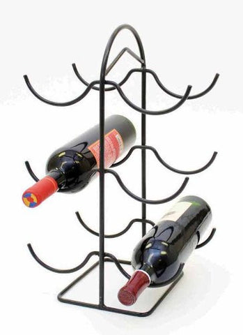 Handmade Wrought Iron Six Bottle Wine Rack- 17.5 Inches High