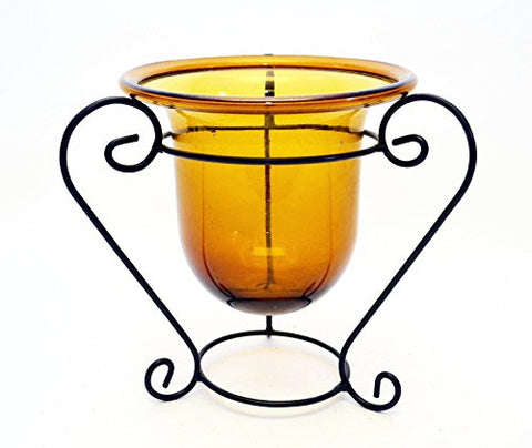 Handmade Iron Stand with Amber Glass Bowl-10 1/2 Inches High x 11 Inches Wide