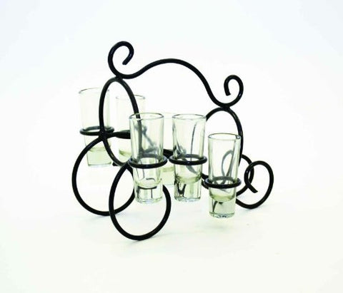 Wrought Iron Bottle Holder w/ 6 Clear Shot Glasses Set-11 Inches Wide x 8.5 Inches Wide