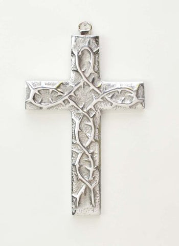Polished Aluminum Thorns Wall Cross-7 Inches High
