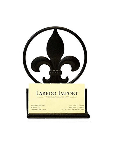 Fleur de Lis Iron Business Card Holder-5.5 Inches High x 4 Inches Wide