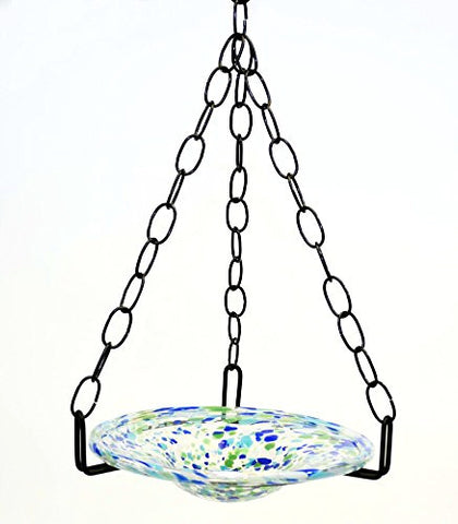 Small Hanging Bird Feeder with Ocean Blue Confetti Bowl-16 Inches High x 8-10 Inches Wide