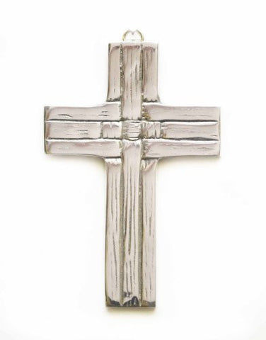 Polished Aluminum Weave Pattern Wall Cross-6.5 Inches High