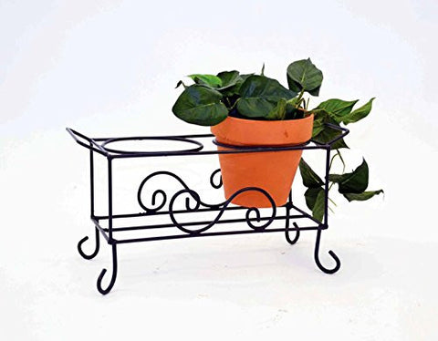 Wrought Iron Two Pot Caddy-17 Inches Long x 6.5 Inches Wide x 8 Inches High.
