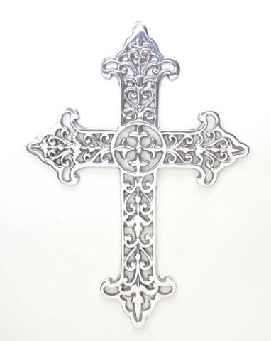 "Polished Aluminum Stencil Wall Cross-16.5""H."
