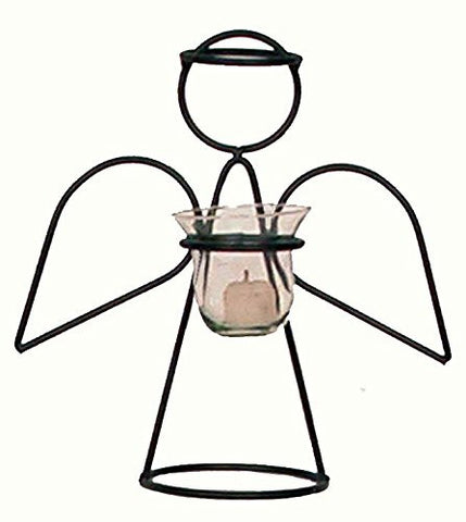 Iron Angel Votive Candle Holder with Glass Insert