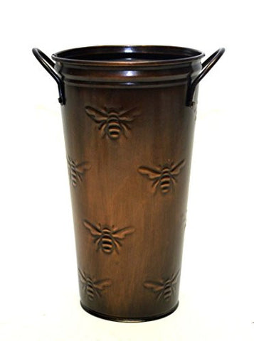 French Flower Bucket, Copperized Tin, Bumble Bee Pattern-10 Inches High x 5.5 Inches in Diameter