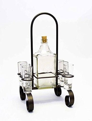 Iron Carrier with Tequila Bottle and Shot Glass- 16 Inches High