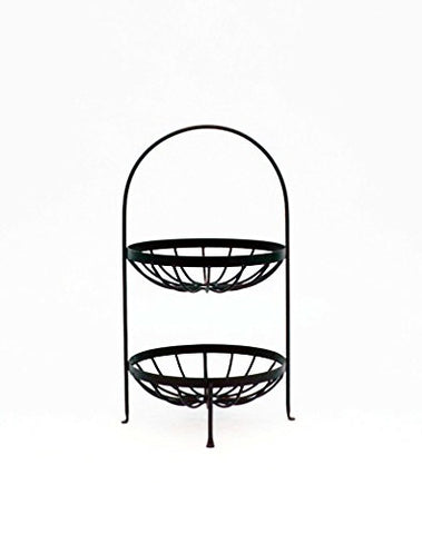 Wrought Iron Double Strap Fruit Basket-21.75 Inches High x 12 Inches Wide