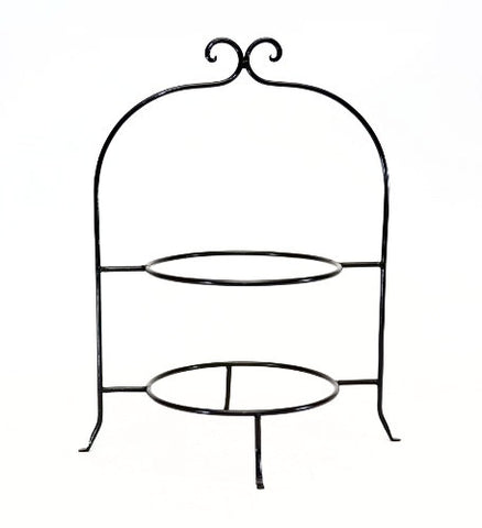 "Handmade Wrought Iron Double Tier Plate Rack- 17.5""H x 8""D."