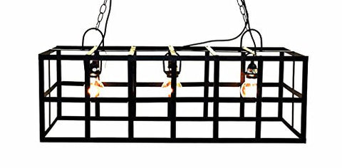 Rectangular Frame Hanging Lamp, with Socket Set and 3 feet of Chain-36 Inches Wide
