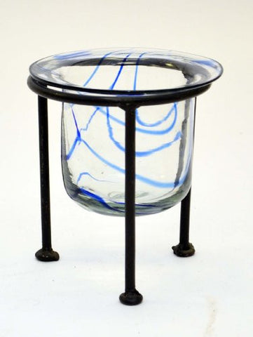 Swirl Glass Votive Holder with Wrought Iron Stand-5 Inches High x 3 Inches Diameter