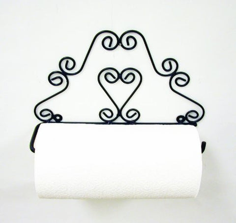Handmade Wrought Iron Heart Paper Towel Holder-13 Inches Wide x 8.25 Inches High