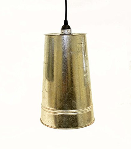 "Galvanized French Flower Bucket Lamp with Socket Set 15 FT of Cord -12.5""H x 8""D."