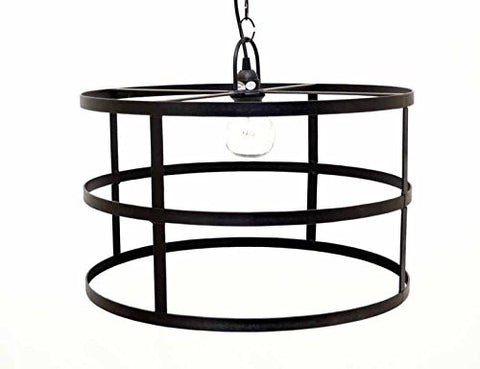 Cylinder Frame Hanging Lamp with Socket Set & 3 Feet of Chain-12 Inches High x 20 Inches in Diameter