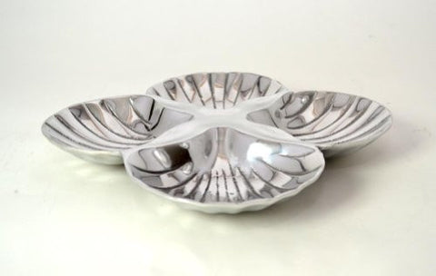 "Aluminum 4 Section, Shell Shaped Snack Dish-9.5"" L X 9.5"" W."