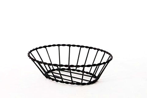 Iron Bread Basket with Twisted Rim-3.5 Inches High x 9 Inches Wide x 12 Inches Long