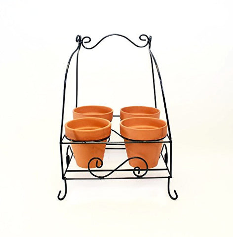 "Four Pot Caddy for 6 Inch Pots- 21.5""H x 15.75""L x 15 3/8""W. Bronze Color."