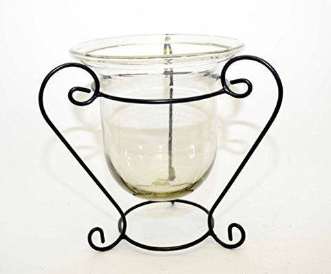 Handmade Iron Stand with Clear Glass Bowl, Bronze Color- 10 1/2 Inches High x 11 Inches Wide