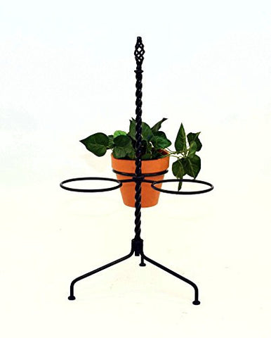 Three Pot Wrought Iron Stand-27 Inches High x 13 Inches Wide