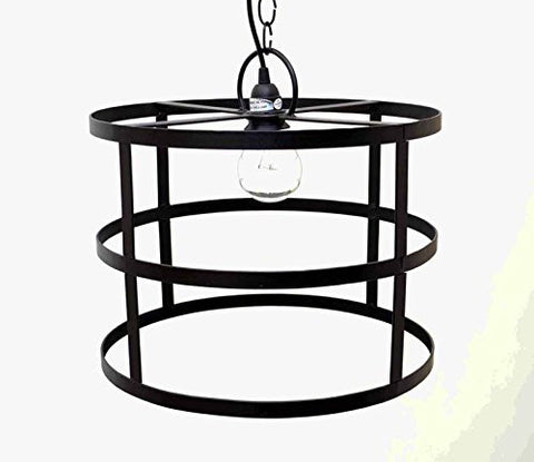 Cylinder Frame Hanging Lamp with Socket Set & 3 Feet of Chain- 12 Inches High x 16 Inches in Diameter