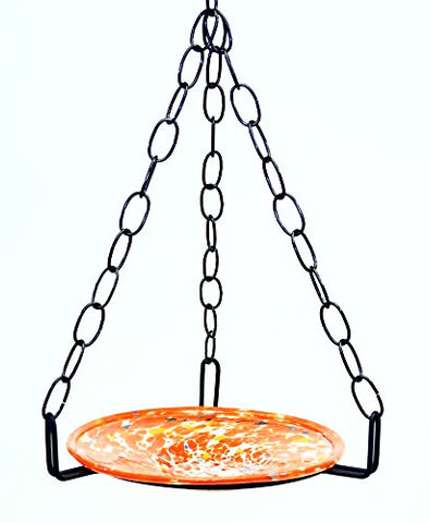 Small Hanging Bird Feeder with Cosmic Orange Bowl-16 Inches High x 8-10 Inches Wide