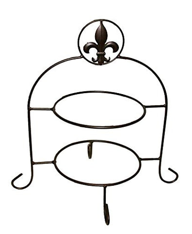 "Iron Double Plate Holder, Fleur De Lis Design-16.5""H."