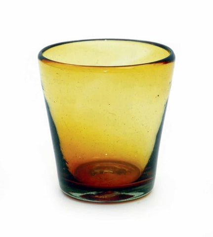 "Set of 4, Handmade Mexican Amber Rocks Glasses, Recycled Glass- 4""H,12 oz."