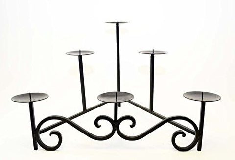 Handmade Scroll Wrought Iron Hearth Candle Holder, Bronze Color-15 Inches High x 22.5 Inches Wide
