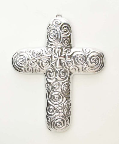 "Polished Aluminum Wall Cross with Spirals-9.5""H."