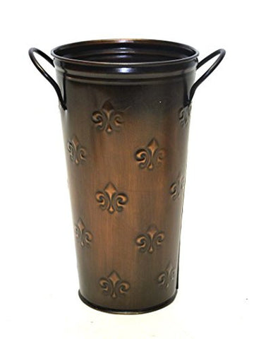 French Flower Bucket, Copperized Tin Fleur De Lis Pattern-10 Inches High x 5.5 Inches in Diameter