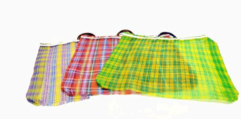 Set of 3, Mexican Market/Grocery Bags, XL- 23 Inches High X 24 Inches Wide, Multi-Color