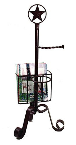 "Wrought Iron Star Bath Magazine Rack and Toilet Paper Holder-37""H"