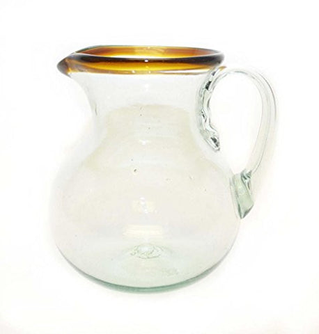 Amber Rim Ball Pitcher, Handmade-80 Ounces. Recycled Glass.