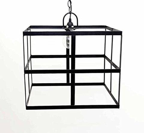 Square Frame Hanging Lamp, with Socket Set and 3 feet of Chain-15 Inches High x 18 Inches Wide