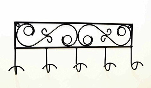 Wrought Iron Decorative 5 Hook Hat Rack-27 Inches Long x 10.5 Inches High x 3 Inches Deep