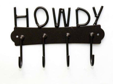 Howdy Iron Key/Towel Holder- 8 Inches Wide x 5 Inches High