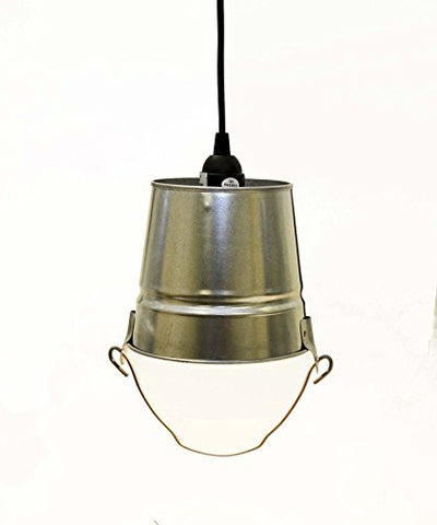 "Galvanized Mini Pail Lamp, Includes Socket Set with 15 ft of Cord-5.5""H X 6""D."