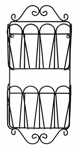 "Wrought Iron 2 Pocket Wall Magazine Rack- 27""H x 12.25""W x 3.5""D."