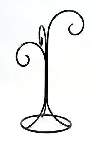 Wrought Iron Ornament or Globe Display Stand- Triple Hook-16.5 Inches Tall.