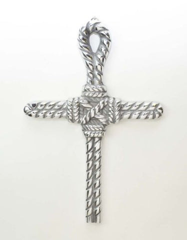 "Polished Aluminum Lasso Wall Cross-12.25""H."