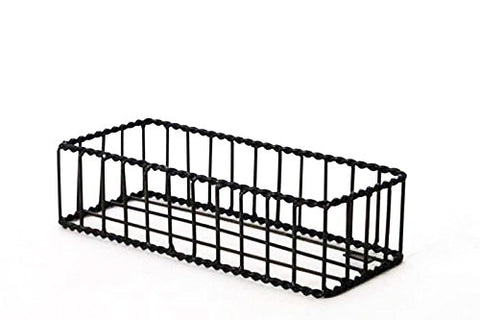 "Handmade Wrought Iron Rectangular Bread Basket with Twisted Rim-3.5""H x 5.5""W x 13""L."