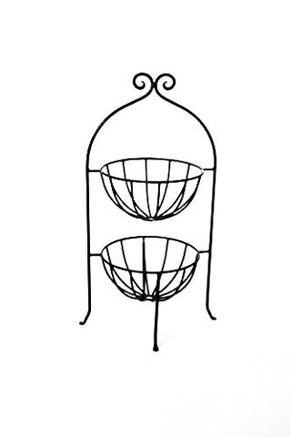 Wrought Iron Two Tiered Fruit Basket-28 Inches High x 12 Inches Wide