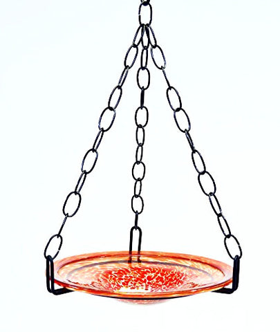 Small Hanging Bird Feeder with Confetti Red Bowl-16 Inches High x 8-10 Inches Wide