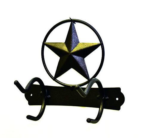 "Iron Quadruple Towel Hook with Star Symbol-8""H."