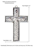 Polished Aluminum Diamond Wall Cross-6.5 Inches High