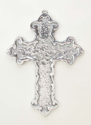 Polished Aluminum Corrugated Look Wall Cross- 9.5 Inches High