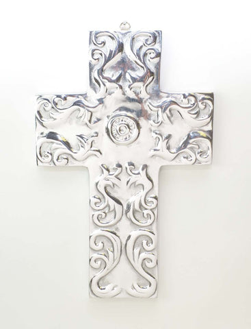 Polished Aluminum Sun Wall Cross-12.5 Inches High
